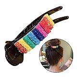 El arco iris colorido garras del pelo para las mujeres pelo de las muchachas del clip del sostenedor venda de la manera elegante de la fiesta Barrettes del pelo Accesorios Fish Grip de diapositivas