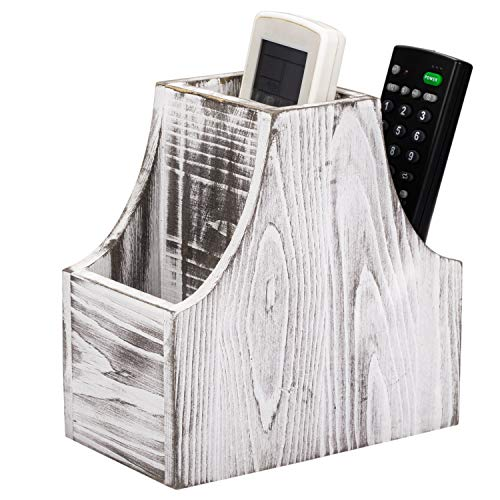 NEX Remote Control Holder, Coffee Table Decor 3-Compartment TV Remote Caddy Organizer, Wooden Desktop Office Supply Storage Organizer(Rustic White)
