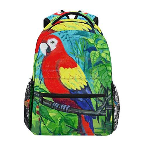 Mnsruu Aquarell Papageienbaum-Rucksack Daypack College Schule Reise Schultertasche