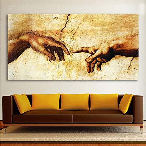 Klassiek schilderij Decoratieve canvaskunst Michelangelo Creatie van Adam Home Decor Muurfoto's voor de woonkamer D 50x75cm Geen frame