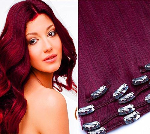 Clip In Extension Set 7 Teile glatt 55cm Haarverlängerung Haarteil 100% Remy Echthaar Clip in Hair Extension von GlamXtensions in Farbe: 660 burg