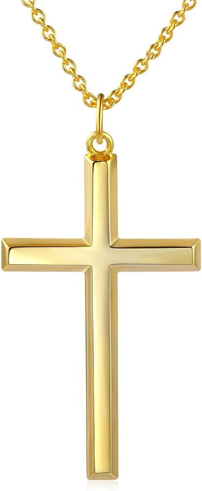 Daochong, collana da uomo in argento sterling 925 placcata oro 14 kt, con ciondolo a forma di croce G6ANL1908006A3