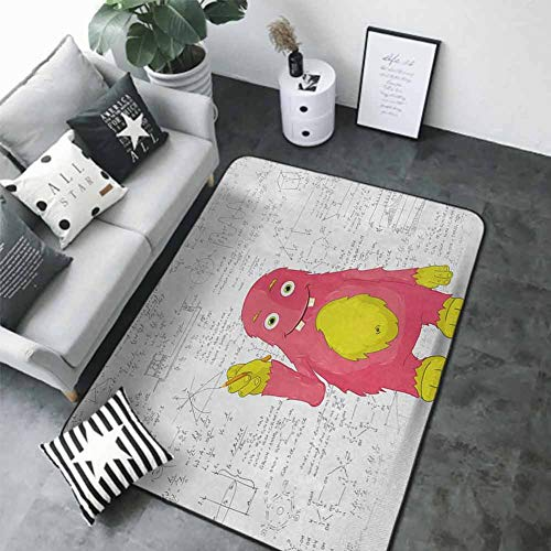 Anti-Slip Coffee Table Floor Mats Kids,Funny Smart Monster Doing Math on Wall Science Nerds Comic Illustration Pattern,Pink Yellow White 80 x 58 in Best Floor mats