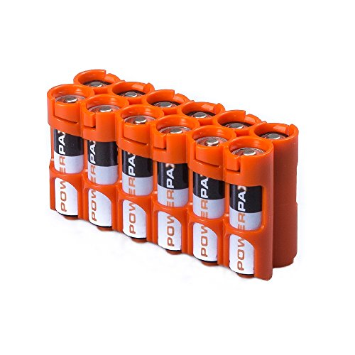 Storacell 12AAORG by Powerpax AA Battery Caddy, Orange, Holds 12 Batteries