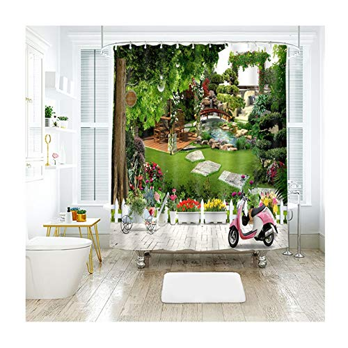 Amody Bad Vorhang 3D Straßenrand Rasen Grün Baum Brücken Ansicht Duschvorhang Lustig Anti Schimmel Bunt 180x180CM Badvorhang Waschbar (Ohne Matte)