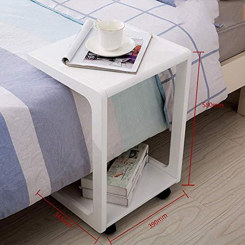 QZH Mesa auxiliar de sofá en forma de U, mesa de sofá de madera de abedul, mesa de bocadillo deslizante debajo del extremo (blanco)