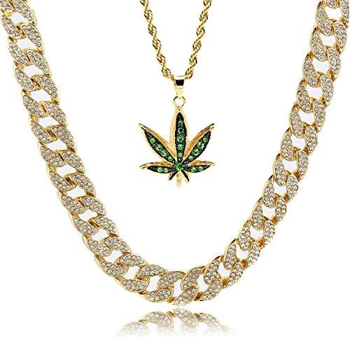 Colgante de marihuana verde chapado en oro de 14 quilates para hombre, cuerda de 61 cm y cadena cubana de 76 cm
