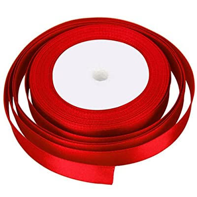 25 Metres X 10mm Of Satin Ribbon For Wedding Favour / Craft / Gift Wrap/ Christmas (red)