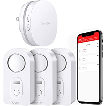 Govee WiFi Water Sensor, Smart APP Leak Alert, Wireless Water Alarm and Alarm with Email, Notification, App Alerts, Remote Monitor Leak for Home Security Basement (Doesn't Support 5G WiFi) -3 Packs