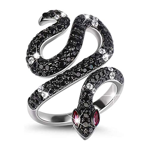 TaiWang Snake Ring for Women Men Sterling Silver Life Power Black Crystal Rings with Cubic Zirconia Personality Jewelry Engagement Anniversary Promise Fashion Ring