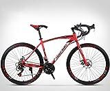 ZTYD 26 Pollici Bicicletta della Strada, 24 velocità Bici, Doppio Disco Freno, Acciaio al Carbonio Telaio, Strada Biciclette da Corsa, per Uomo e Donna per Soli Adulti,Rosso