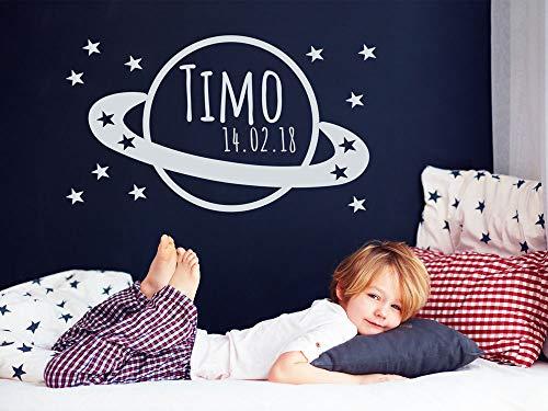 GRAZDesign Wandaufkleber Kinderzimmer Saturn - Wandtattoo Kinderzimmer Mädchen Sterne - Tattoo Name Kind Planet - Wandtattoo Universum / 100x57cm / 043 Lavendel