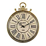 16 Pulgadas Nordic Retro Relojes de Pared Silenciador Números Romanos Reloj de Pared Dorado Sala de Estar Sala de Estudio Restaurante Movimiento de Cuarzo Decoración de Pared