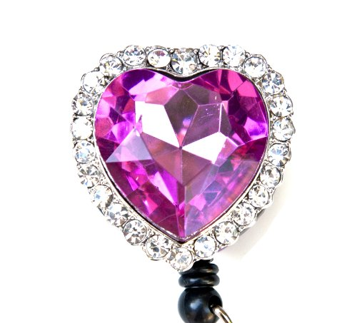 Colorful Diamond Heart Rhinestone Retractable Badge Reel/ID Badge Holder (Pink)