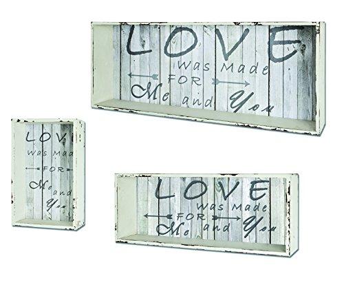 Haku Möbel 27999 Conjunto de 3 estantería de Pared, 78 x 32 x 16 cm, Blanco dilapidados/Vintage
