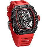 FEICE Men's Automatic Wrist Watch Sapphire Crystal Japanese Movement Skeleton Automatic Mechanical Watch Waterproof Sports Wristwatch - FM602 (BLKRED)