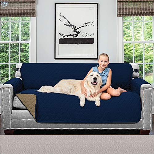 Sofa Shield Original Patent Pending Reversible Large Sofa Protector for Seat Width up to 70 Inch, Furniture Slipcover, 2 Inch Strap, Couch Slip Cover Throw for Pets, Kids, Cats, Sofa, Navy Sand