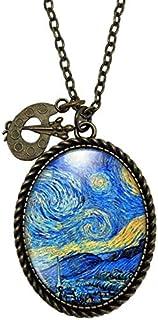 """Collana cabochon Van Gogh""""la notte stellata"""" - Regalo di Natale per idea regalo moglie - San Valentino- regalo di complean..."""