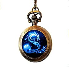 Blue Dragon Pocket Watch Necklace, Handmade glass dome Jewelry ,Long art Photo Necklace ,Charm Fantasy Dragon Jewelry