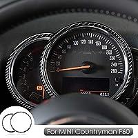 ミニクーパーカントリーマンF60アクセサリー用リアルカーボンファイバーカバートリムステッカータコメータースピードメーターインテリアトリムデコレーションデカール-ブラック2個