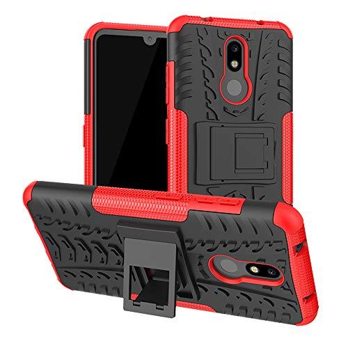 LFDZ Nokia 3.2 2019 Hülle, Abdeckung Cover schutzhülle Tough Strong Rugged Shock Proof Heavy Duty Hülle Für Nokia 3.2 2019 Smartphone(Not fit Nokia 3.1),Rot
