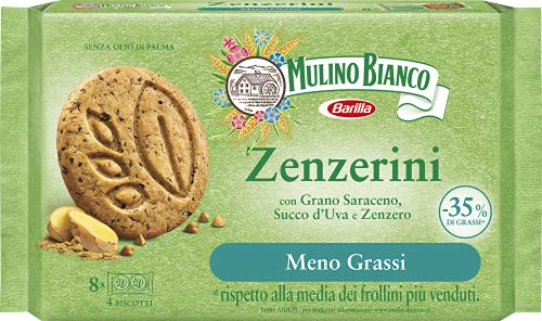 Mulino Bianco Zenzerini Biscotti con Meno Grassi con Grano Saraceno, Succo d'Uva e Zenzero, Confezione 220 g con 8 Monoporzioni da 4 Biscotti