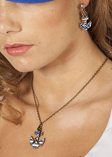 Collier ancre de bleu marin fille