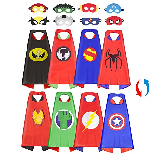 Superhero Capes for Kids: Superhero Dress Up Costume Double Satin Capes and Mask Superhero Toys for 3 -10 Year Old Boys Gifts