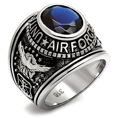 Nationalonlinediscounts Stainless Steel USAF Us Air Force USA United States Military Veteran Blue Oval Stone Ring Sizes 8,9,10,11,12 & 13 (8)