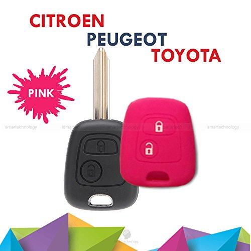 1neiSmartech Cover Guscio Colorato Materiale Silicone Morbido Per Scocca Chiave Tasti Auto Peugeot 106 107 206 207 407 806-10 Colori (Fucsia)