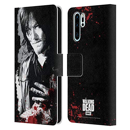Head Hülle Designs Offiziell Zugelassen AMC The Walking Dead Verw&ete Hand Blut Leder Brieftaschen Handyhülle Hülle Huelle kompatibel mit Huawei P30 Pro
