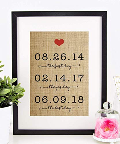 Personalized Valentines Day Gift for Wife or Husband, Wedding, Anniversary, Engagement, Bridal Shower: The First Day, The Yes Day, The Best Day Burlap Print