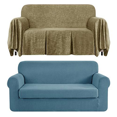CHUN YI Stretch 2-Piece Loveseat Sofa Slipcover Bundles 1-Piece Medium Linen Sofa Throw Cover with Ruffle Design( Smoky Blue, Khaki)