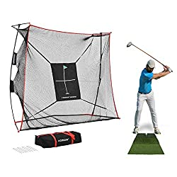 PRACTICE FROM HOME: Bring all the benefits of the driving range directly to your home with our newest groundbreaking product. This package includes (1) 9x7x3ft Rukket Haack Golf Net Pro, (1) Floating Hitting Target, (1) Carry Bag, and (1) Tri-Turf hi...