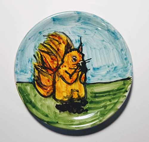 Das Eichhörnchen-Keramische Platte, handdekoriert, Durchmesser 11,8 cm hoch2,2-MADE in Italien Toskana Lucca, Zertifikat.Erstellt von Davide Pacini.