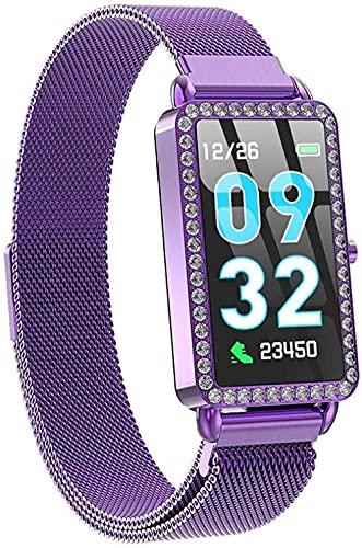 Reloj inteligente para mujer con monitor de presión arterial y podómetro de metal, color morado