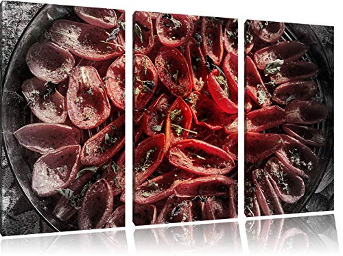 RFUFNPP New Sun-Dried Tomatoes with Olive Oil Basil and Herbs B & W Detail 3-Piece Canvas Picture 50Cmx90Cm Image on Canvas