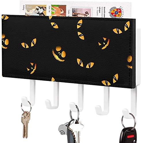 5 ganchos hechos: soporte para llaves, gancho para llaves montado en la pared, linterna de calabaza con caras de oscuridad del día de Todos los Santos, soporte para correo de entrada a la pared, orga
