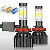 ZDATT H11 H8 H9 Led Headlight Bulbs 100W 12000 Lumens Low Beam, Fog Lights, 4 Sides High Beam Lighting Lamps 200% Brighter Conversion Kits 3000K Yellow 6000K White 8000K Blue