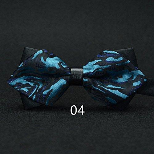 WUNDEPYTIE Fliege Krawatte Polyester Herren Hochzeitsanzug Business Retro Blau