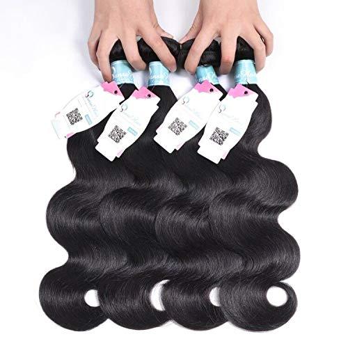 Panse Hair 100% Unprocessed Virgin Peruvian Human Hair Peruvian Body Wave 4 Bundles (22 24 26 26,400g) Hair Extensions Grade 10A Remy Human Hair Bundles 1B Color