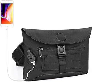 JKLGNN Mehrzweck-Segeltuch-Brusttasche Outdoor Sports Sling Crossbody mit USB-Ladeanschluss EIN-Schulter-Business-Umhängetasche Reiserucksack mit Diebstahlsicherung,Black