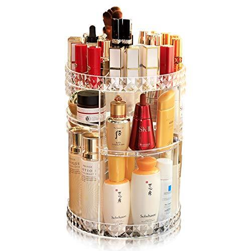 Makeup Organizer, Make Up Kosmetik Organizer, 360° Drehbar, Schmink Aufbewahrung Kosmetikbox für Dresser Schlafzimmer Badezimmer, Transparent