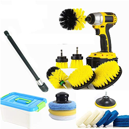 HUAWELL 20 Piece Drill Brush and Scrub Pads Kit Power Scrubber Variety Cleaning Kit with 6 Inch Reach Attachment in Box for Home Kitchen Toilet Bathroom CarpetGrout Scrubbing and Tile Cleaning