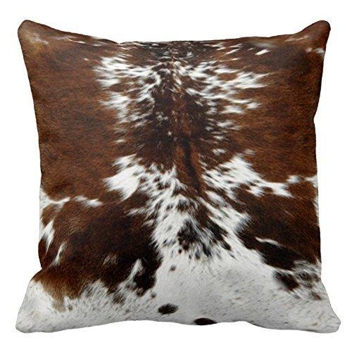Fedso Funda decorativa con estampado de piel de vacuno marrón y blanco, con cremallera, 45,7 x 45,7 cm, dos lados para sofá