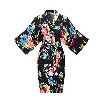 ALHAVONE Women's One Size Rayon Cotton Floral Short Kimono Robe Bathrobe Sleepwear