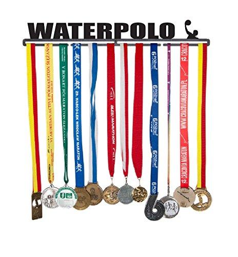 Medaillenhalter Medaille Aufhänger Medal Hanger Display - Version Name: Waterpolo - 56 cm! - Medaillen zum Aufhängen: 40 - Stahl mit Schwarzem Pulver überzogen - In Einem Festen Paket Verpackt