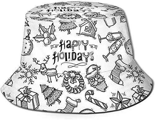 BONRI Torta di Compleanno al Cioccolato Unisex Ciambella Caramelle Cappello Secchio da Viaggio Cappello Estivo da Pescatore Cappello da Sole-Albero di Schizzo di Natale Renna di Champagne