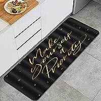 PATINISA キッチンラグ、自分を優先スパンコール文字星黒の背景にする、滑り止め台所マット, 耐磨耗性快適なフローリングのドアマット,フロアマット, 家、オフィス、流し、掃除易い 台所マット 45 x 120