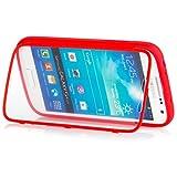 Samsung Galaxy S4 MINI | iCues táctil TPU Rojo | Caso duro al Air libre grueso a prueba de golpes 360 grados Pantalla de cuerpo completo ronda los dos lados completan frente de silicona de gel de doble protección delantera y trasera  Cubierta Funda Carcasa Bolsa Cover Case